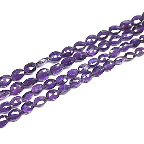 Beads Bazar Natural Beautiful jewellery 2 Strands Natural Purple Amethyst Faceted Oval Gemstone Loose Spacer Craft Beads 15