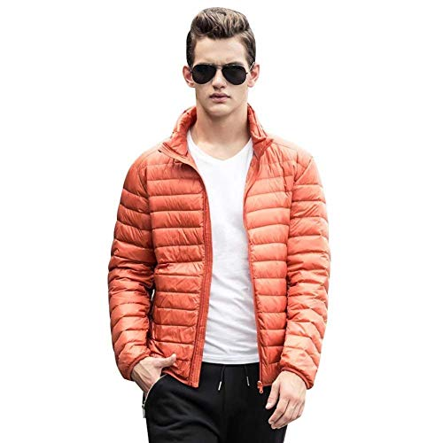 Packable Manga De Estilo Ligera Larga Hombre Abrigos Acolchada Bomber Chaqueta De Naranja Chaquetas Simple Chaqueta Down OF6q17wE