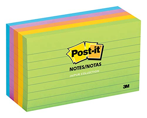 ca's #1 Favorite Sticky Note, 3 in x 5 in, Jaipur Collection, Lined, 5 Pads/Pack (635-5AU) ()