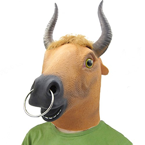 BuBinga Novelty Bull Animal Head Halloween Costume Masks with Ring Party Cosplay (Latex Bull Mask)