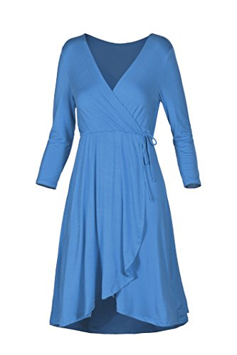 Wrap V 3 Teal 4 Women's Dress Beachcoco Sleeve Blue Neck wxvtY5qWO