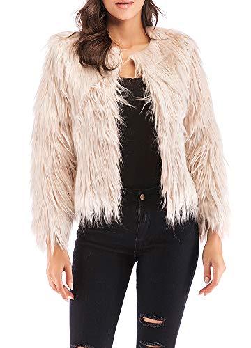 Anself Women's Shaggy Faux Fur Coat Solid Color Long Sleeve Short Jacket