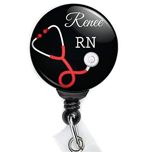 Limeloot Red Stethoscope Custom Personalized Nurse Retractable Badge Reel with Swing Clip and 36 Inch Cord.