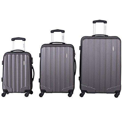 Goplus 3 Pcs Luggage Set ABS Hardshell Travel Bag Trolley Suitcase w/TSA Lock (Grey) by Goplus (Image #1)
