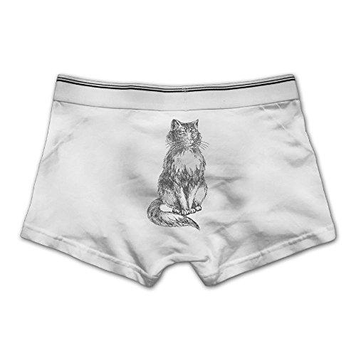 Men's Underpants Boxer Briefs Cat Kitten Sketch Underwear Low Waist Cotton No (Halloween Cat Sketch)