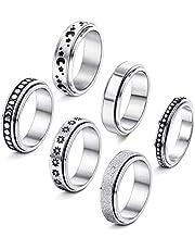 BYNYXI 6 STKS RVS Spinner Band Ring, Dots Moon Star Roterende Sieraden Fidget Ringen Set Stress Verlichten Bruiloft Belofte voor mannen en vrouwen