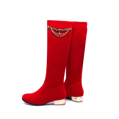 Pull Low Boots Red Heels AgooLar Women's Closed Frosted Toe Solid On Round HU7CnxwqB