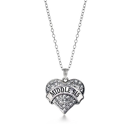 Clear Heart Necklace (Inspired Silver Middle Sis Pave Heart Necklace Clear Cystal Rhinestones)