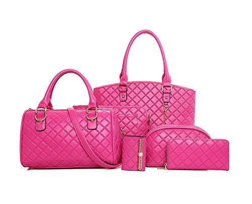 Rosa Carteras DEERWORD y clutches bolsos Bolsos de Roja Mujer Shoppers de y bandolera 5 mano hombro piezas 8wq78rZnE