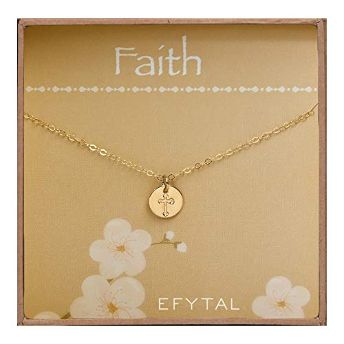 (EFYTAL Tiny Gold Filled Faith Cross Necklace, Small Simple Dainty Disc Pendant, First Communion Gift for Girls and Women )