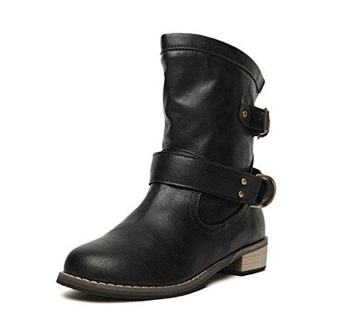 KUKI Botas de mujer, zapatos de mujer, botas Martin, cabeza redonda, tacón bajo, botas, estaciones, salvaje, casual black