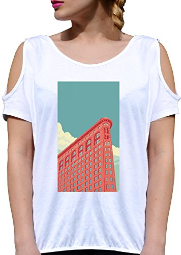 T SHIRT JODE GIRL GGG27 Z1634 NEW YORK SKYLINE CITY URBAN STYLE AMERICA FUN FASHION COOL BIANCA - WHITE M