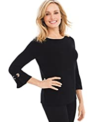Chicos Womens Travelers Classic Grommet-Sleeve Top