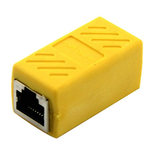 SODIAL(R) Ethernet RJ45 adapter - Shielded In-Line Coupler for Cat7/Cat6/Cat5e/cat5 Ethernet Cable Extender connector - Female to Female, Yellow - 1 Pack