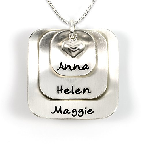 (Square Lucky Three Sterling Silver Personalized Necklace Comes with 3 Customizable Charms and a Sterling Silver Heart Charm. Your Choice Of 925 Chain. Gifts for Her, Mother, Grandmother, Wife)