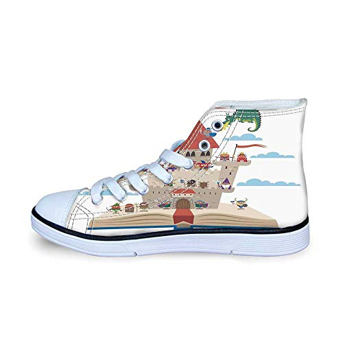 Kids Comfortable High Top Canvas Shoes,Fairy Tale Story Book Castle King Queen Princess Dragon Witch Knight Wizard Vikings Theme Print for Boys,EU30