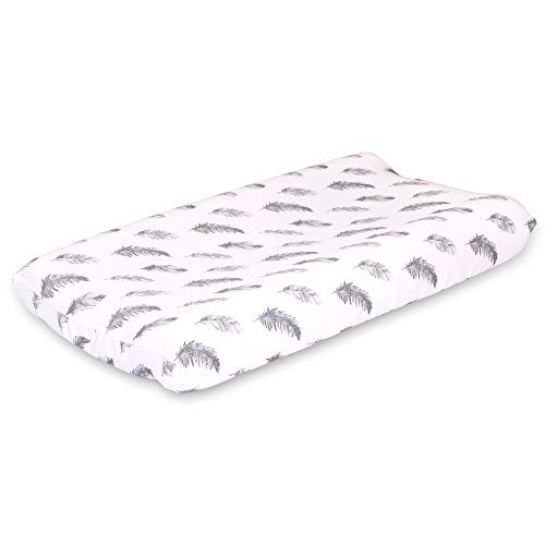 Grey Feathers Baby Changing Pad Cover - Farmhouse Collection by The Peanut Shell