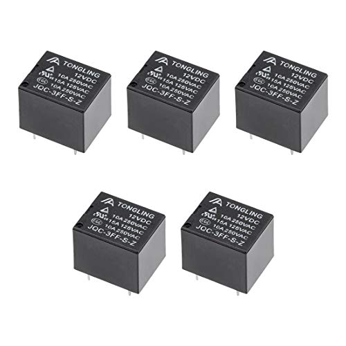 (uxcell 5 Pcs JQC-3FF-S-Z DC 12V Coil SPDT 5 Pin PCB Electromagnetic Power Relay )