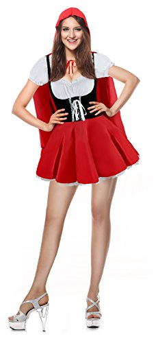 Kimring Women's Cute Fairytale Halloween Costume Sweet Lolita Dress with Cloak Red/Black Small ()
