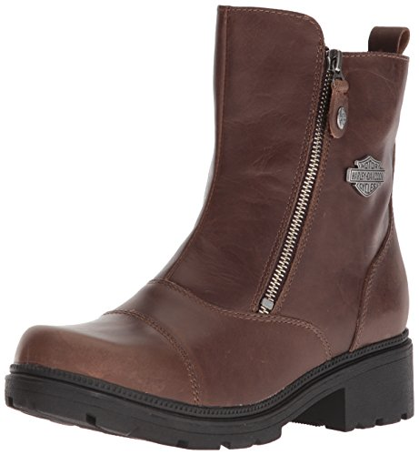 Harley-Davidson Women's Amherst Motorcycle Boot, Brown, 8 Medium (Ladies Brown Leather Ankle Boots)