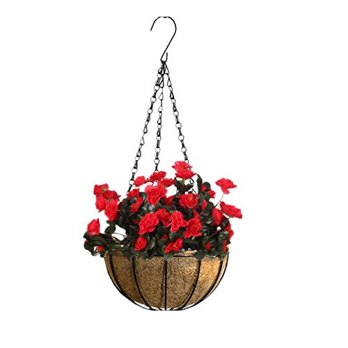 Mynse Creative Home Garden Hanging Basket Silk Azalea Flower Hanging Decoration Outdoor Artificial Rhododendron Hanging Basket (Big Basket) ()