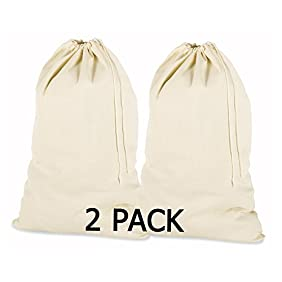 PACK of 2, 100% Cotton Extra-Large Laundry Bag 24 Inches by 36 Inches in Natural Color by Linen Clubs - Lightweight and Durable, gives you a long-term solution to your laundry carrying needs
