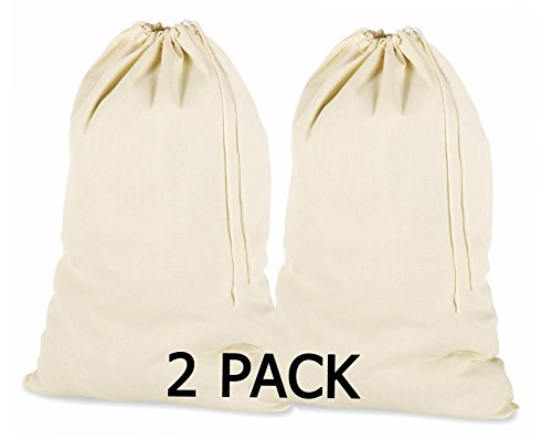 PACK of 2, 100% Cotton Extra-Large Laundry Bag 24 Inches by 36 Inches in Natural Color by Linen Clubs - Lightweight and Durable, gives you a long-term solution to your laundry carrying needs. (Laundry Bags Extra Large compare prices)