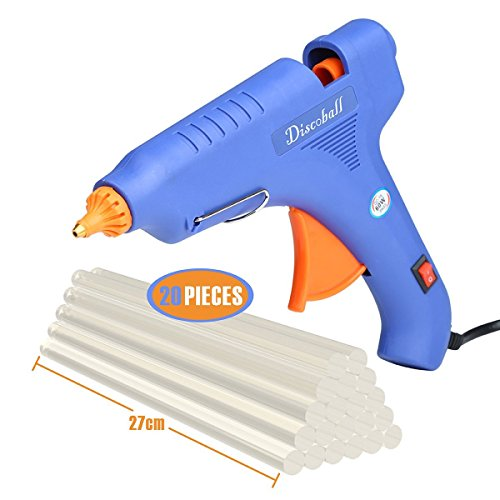 Hot Glue Gun, DISCOBALL 60 Watt Hot Melt Glue Gun with 10PCS Transparent Glue Gun Sticks for Arts & Crafts, & Sealing and Quick Repairs,Blue]()