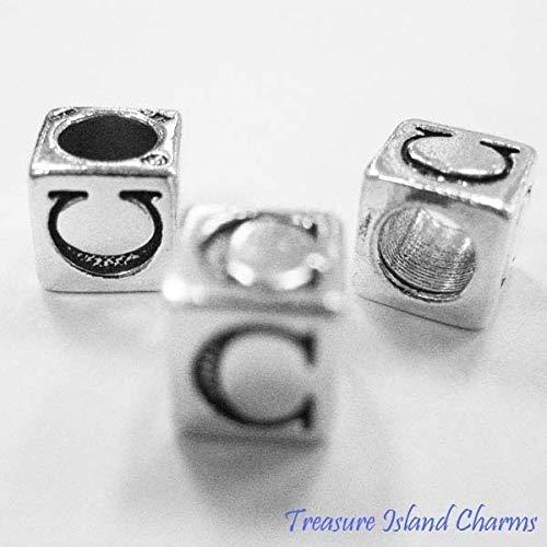 Letter C .925 Solid Sterling Silver Alphabet 7mm Block Bead, 5mm Hole - Sterling Silver Holes Block Alphabet