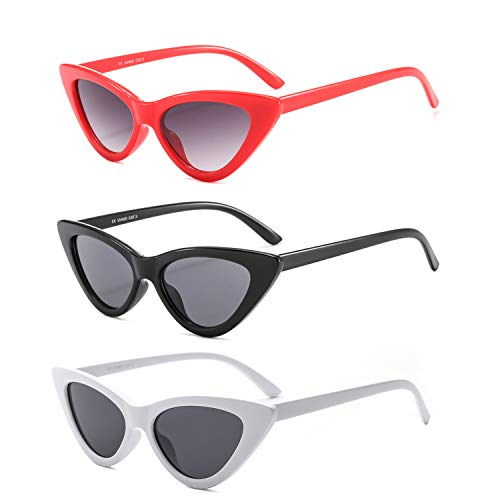 Cat Eye Sharp Corner Rhinestone Vintage Sunglasses for Women (3Pack-Red/Black/White)