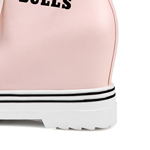 AllhqFashion Damen Rund Zehe Hoher Absatz Niedrig-Spitze Gemischte Farbe Stiefel Pink