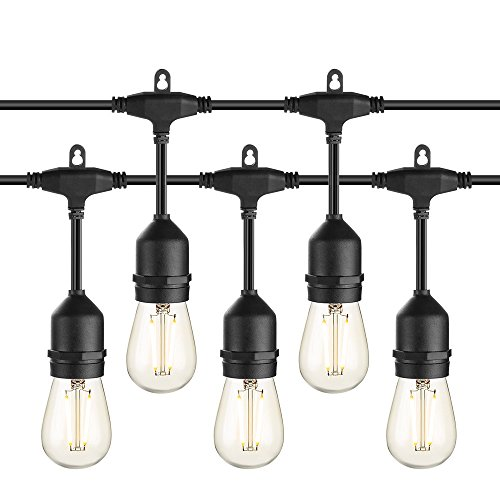 Cheap Zanflare Outdoor String Lights, 48Ft Pro LED Waterproof Patio String Lights,Hanging Vintage 15 Edison Bulbs(Plus 3 Extra Bulbs),UL Listed Heavy-Duty Decorative Café Bistro Garden Wedding Malls