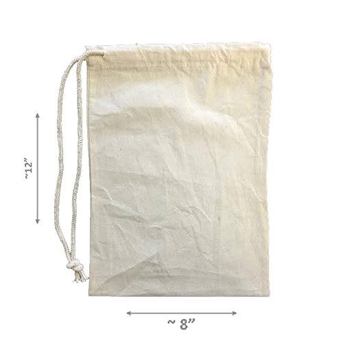 LA Linen 100% Cotton Durable Draw String Muslin Produce Storage Bags, 8'' by 12'', / 25 Pack / Natural Color.