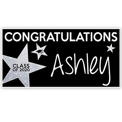 Personalized Banners For Graduation (Class of 2020 Graduation Banner Personalized Party Backdrop Silver Glitter)