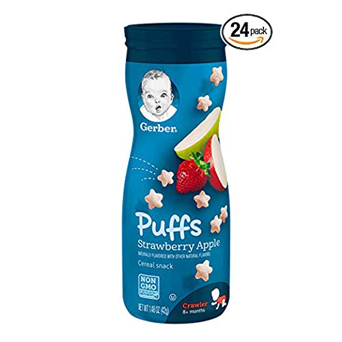 Gerber Graduates Puffs, Banana and Strawberry Apple, Pack of 24