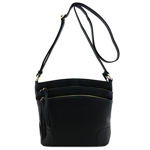 Crossbody Bag Medium Triple Black Pocket Zipper wxq48UPv