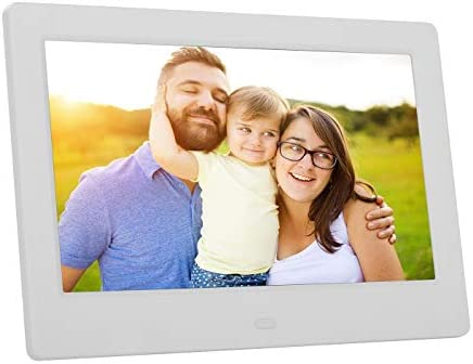 Advance 8 Inch Digital Picture Frame, HD IPS Display with Motion Sensor, Auto-Rotate and Enlarge, Electronic Photo Frame Display Video Music and Pictures by the use of USB or SD Card (White)