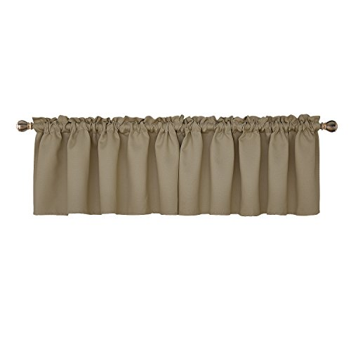 Deconovo Blackout Rod Pocket Curtains Textured Embossed Valance for Kitchen Window 42x18 Inch Khaki 2 PCS ()