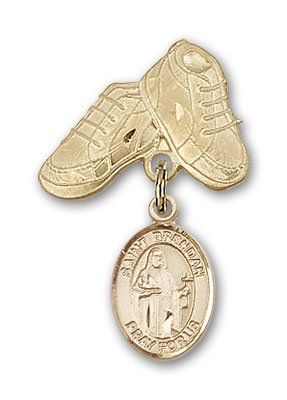 ReligiousObsession's 14K Gold Baby Badge with St. Brendan the Navigator Charm and Baby Boots Pin