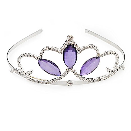 Vinjewelry Girls Tiara Purple Crystal Crown Silver Plated Best Gifts for Your (Princess Sofia Tiara)