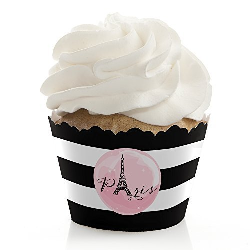 Paris, Ooh La La - Paris Themed Baby Shower or Birthday Party Decorations - Party Cupcake Wrappers - Set of 12