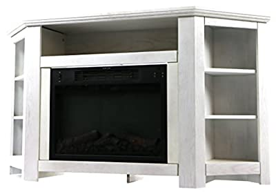 Cambridge CAM5630-1WHTLED Stratford 56 In. Electric Corner Fireplace in White with LED Multi-Color Display