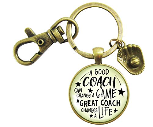 (Softball Coaching Keychain A Great Coach Changes A Life Quote Thank You Key Ring Appreciation Gifts For Men Women)