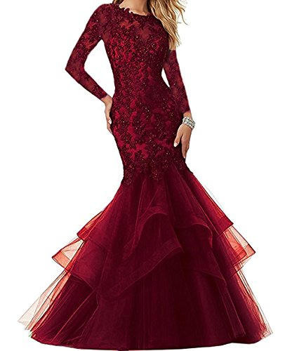 Embroidered Beaded Dress (Sound of blossoming Sob Beaded Lace Embroidered Prom Dresses Tulle Long Mermaid Ruffles Formal Evening Party Ball Gown SOB118)