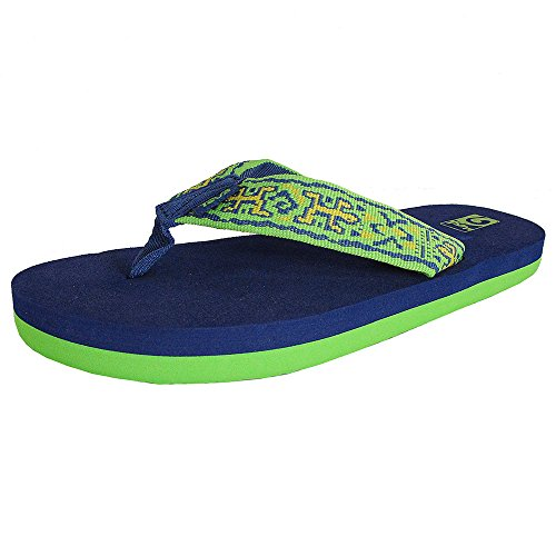 Teva Mush II Flip Flop Slide Sandals, Old Lizard Navy/Lime,