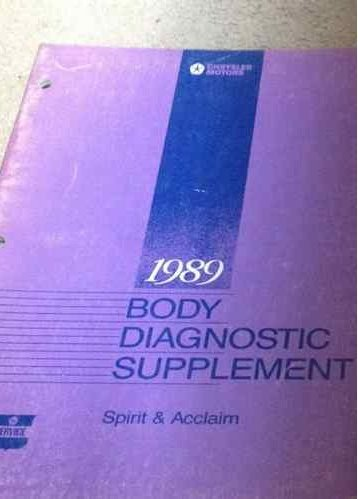 1989 Dodge Spirit Plymouth Acclaim Repair Shop Manual Original