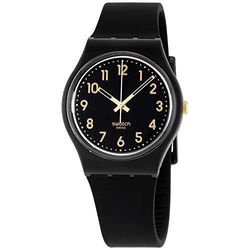 Swatch GB274 Golden Tac Black Gold Analog Dial Silicone Strap Unisex Watch New (Swatch Gold Watch Band Small)