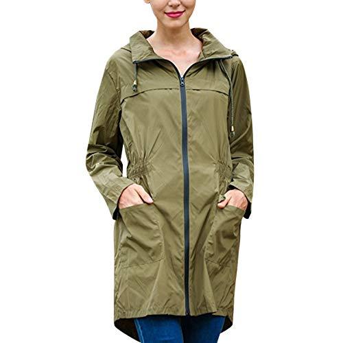 ZFFde Invierno Chaqueta de lluvia con capucha impermeable de la manga larga de las mujeres Chaqueta de bolsillo larga al aire libre que va de excursión (Color : Navy, tamaño : S)