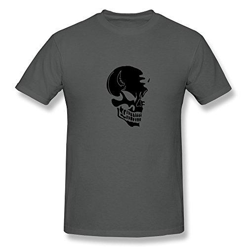 Organic Cotton Crew Neck Swag Skull Male T Shirt Size XL DeepHeather