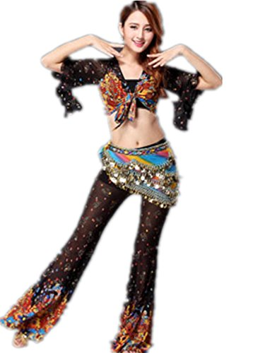 Danza del vientre Disfraz Set Camo Lotus Edges Top+larga Split Pantalones Black
